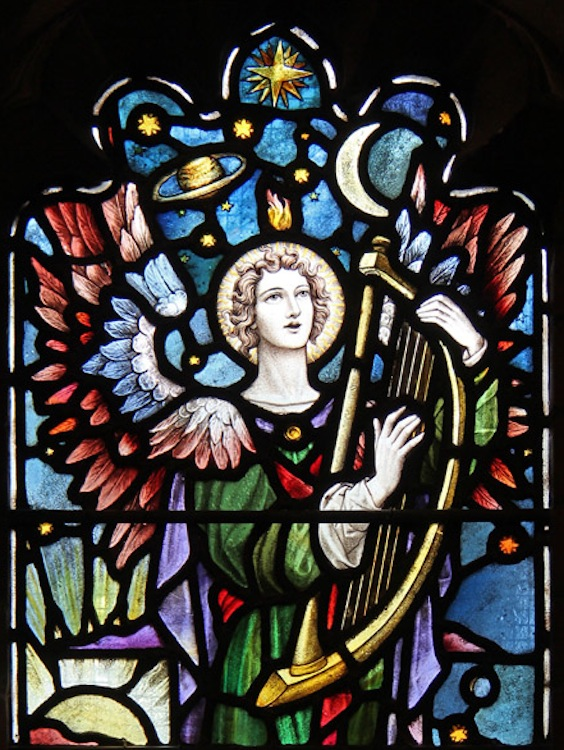Singing Angel stained glass